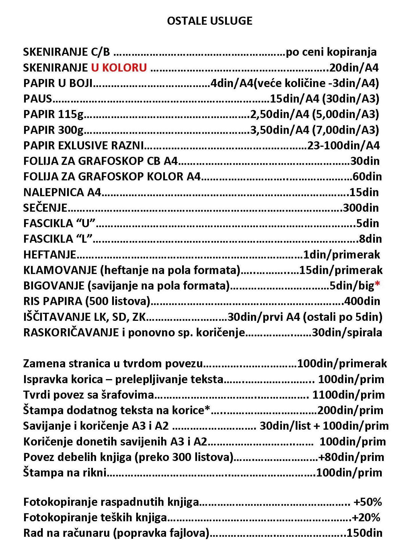 Cenovnik ostalih usluga Liman Novi Sad ABC fotokopirnica